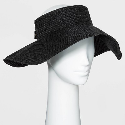 Women's Straw Visor Hat - A New Day™ Black One Size