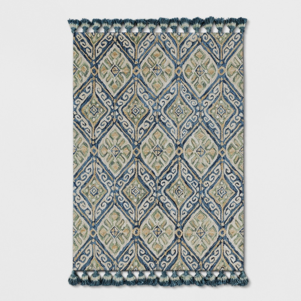 Blue Floral Hooked Area Rug 5'X7' - Threshold, Off-White Blue