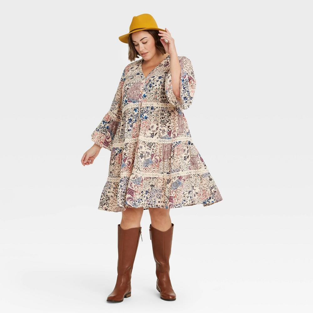 60s 70s Plus Size Dresses, Clothing, Costumes Womens Plus Size Long Sleeve Button-Front Dress - Knox Rose Ivory 4X $29.99 AT vintagedancer.com