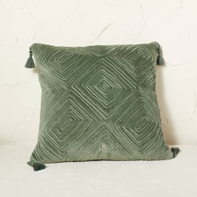 Velvet Quilted Diamond Pattern Square Throw Pillow - Opalhouse™ designed with Jungalow™