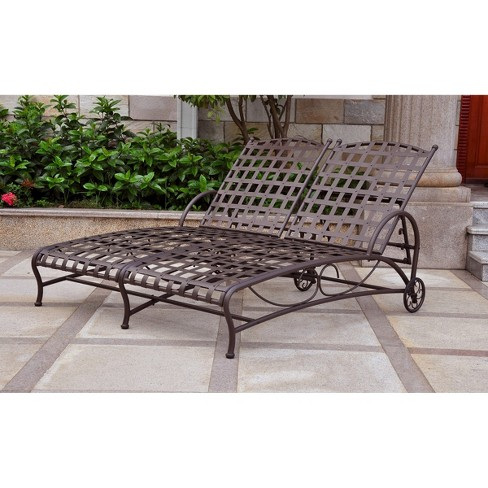 Santa Fe Iron Patio Double Chaise Lounge - Brown - International Caravan - image 1 of 1