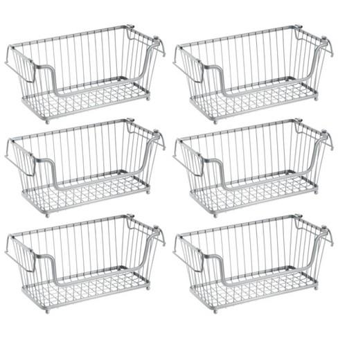 mDesign Stackable Metal Food Storage Basket with Handles, 6 Pack - image 1 of 4