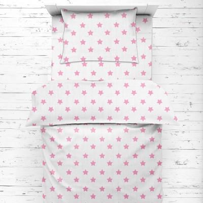 Bacati - Stars Pink Ikat Muslin 4 pc Toddler Bedding Set..