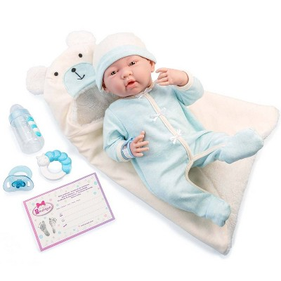 "JC Toys Soft Body La Newborn 15.5"" baby doll - Blue Bear Bunting Gift Set"