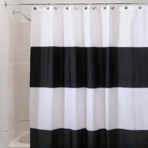 Zeno Waterproof Shower Curtain Black White Idesign Target