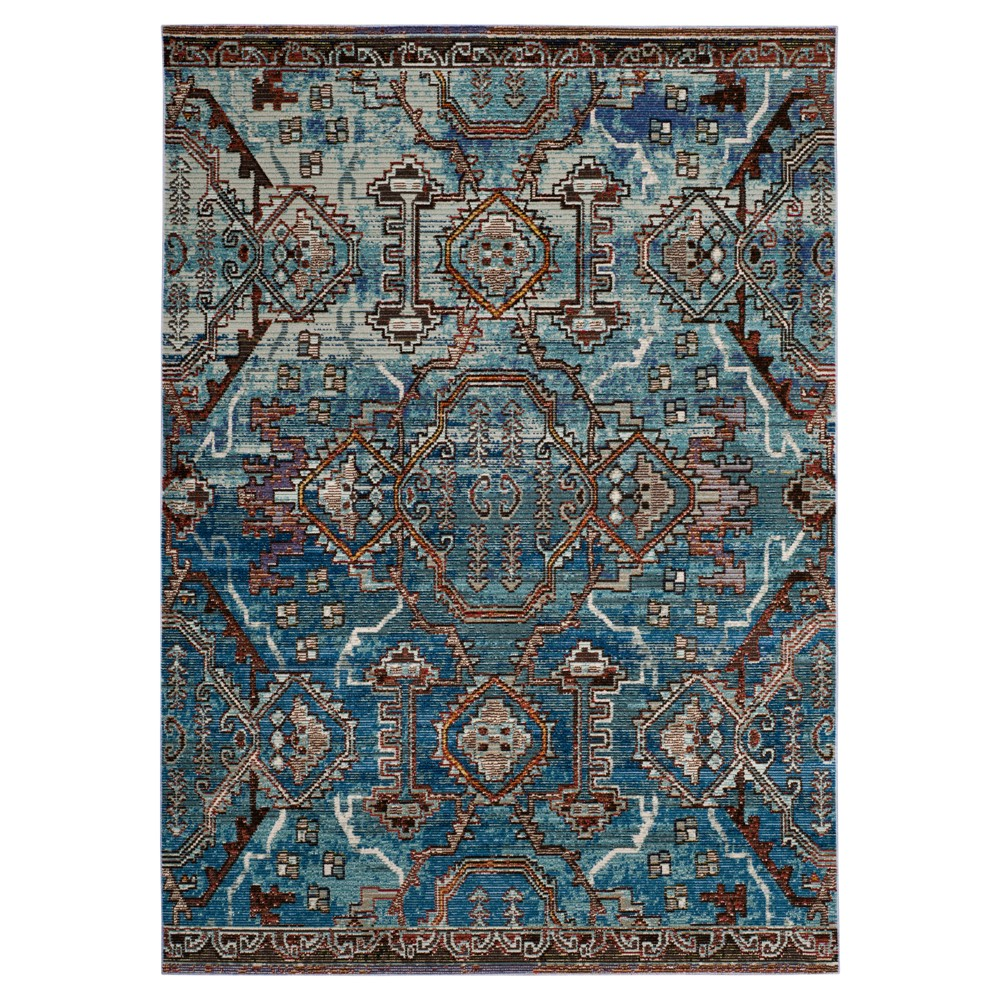 Blue Tribal Design Loomed Area Rug 6'7