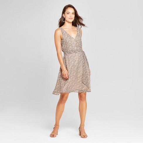 eb73ac540328c Women s Leopard Print Sleeveless Chiffon Tie Waist Dress - A New Day™ Tan