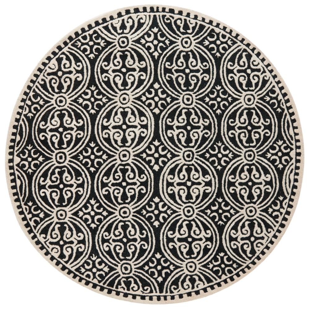 Medallion Round Area Rug Black/Ivory