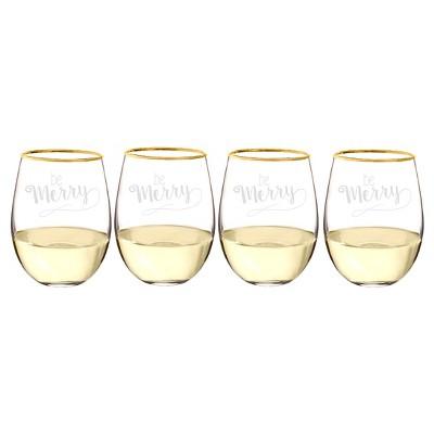 19.25oz 4ct Be Merry Gold Rim Stemless Wine Glass