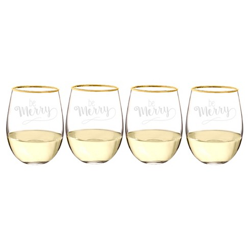4ct Be Merry Gold Rim Stemless Wine Glass - image 1 of 8