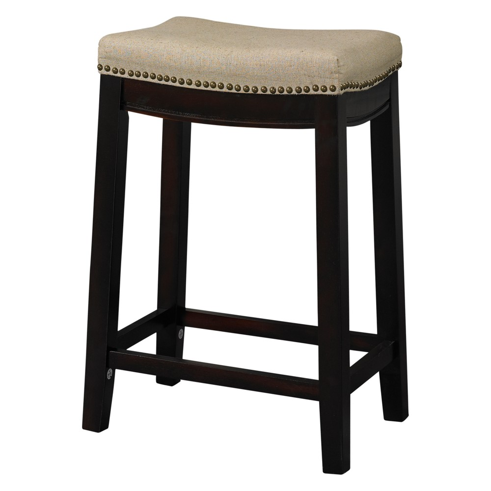 Nail Head 26 Backless Counter Stool Upholstered Seat - Beige/Walnut (Brown) - Linon