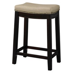 Wondrous Nail Head Backless Bar Stool Upholstered Seat Beige Walnut Bralicious Painted Fabric Chair Ideas Braliciousco