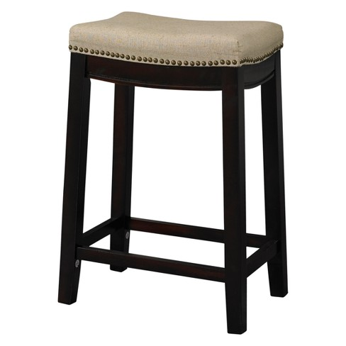 Nail Head 26 Backless Counter Stool Upholstered Seat Beigewalnut