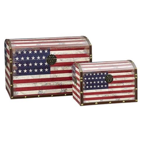 Household Essentials American Flag Trunks Set of 2 - image 1 of 2