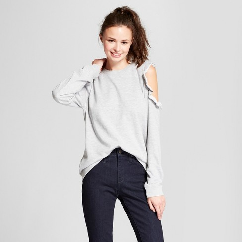 Women's Long Sleeve French Terry Ruffle Cold Shoulder Sweatshirt - Alison Andrews Gray - image 1 of 2