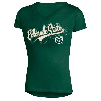 NCAA Girls' Short Sleeve V-Neck Puff Glitter T-Shirt Colorado State Rams - XS