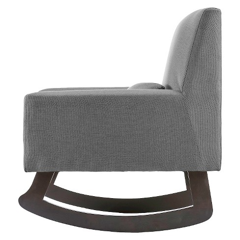 Imperium Linen Contemporary Rocking Chair With Pillow Gray Baxton