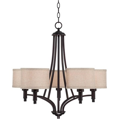"""Franklin Iron Works Oil Rubbed Bronze Chandelier 26"""" Wide Arched Arms Oatmeal Linen Shades 5-Light Fixture for Dining Room House"""