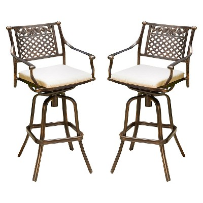 Sebastian Set of 2 Cast Aluminum Patio Barstool with Cushion - Copper - Christopher Knight Home