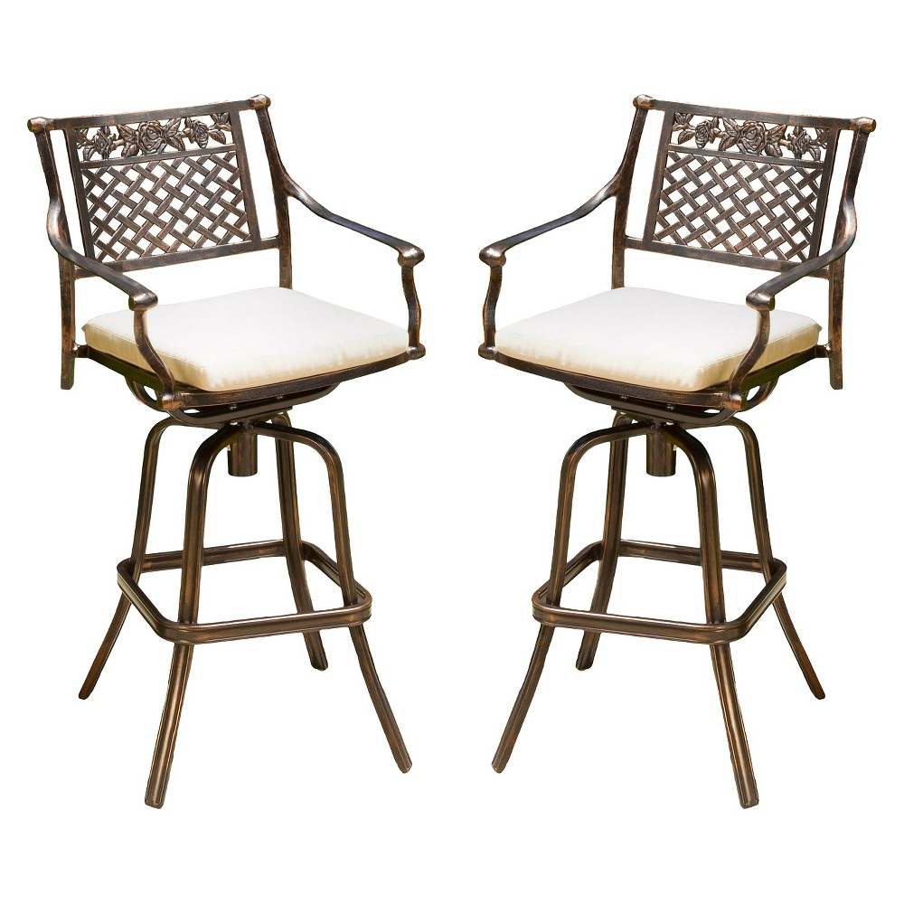 Sebastian Set Of 2 Cast Aluminum Patio Barstool With Cushion Copper Christopher Knight Home