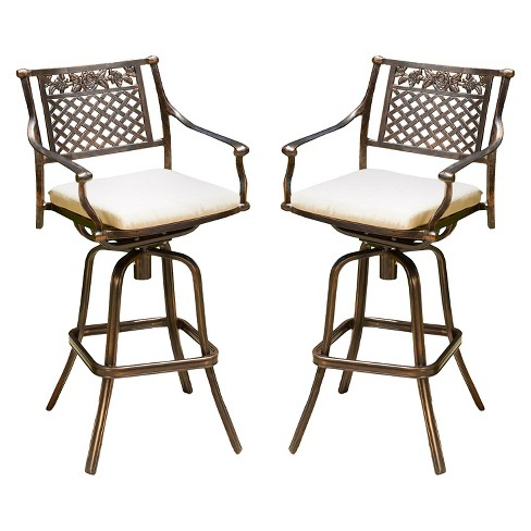 Sebastian Set of 2 Cast Aluminum Patio Barstool with Cushion - Copper - Christopher Knight Home - image 1 of 4