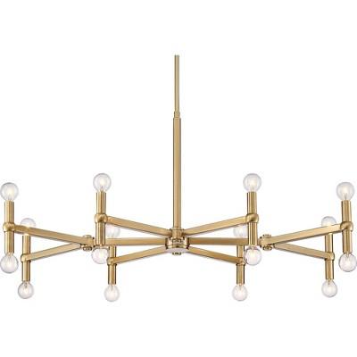 "Possini Euro Design Satin Brass Large Chandelier 37"" Wide Modern 24-Light Fixture Dining Room House Foyer Kitchen Island Entryway"