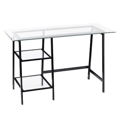 Beecher Metal/Glass Sawhorse/A Frame Writing Desk Black - Aiden Lane