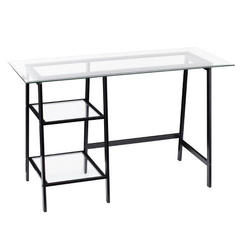 Beecher Metal/Glass Sawhorse/A Frame Writing Desk Black - Aiden Lane ...