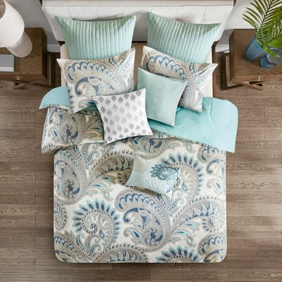 3pc Full/Queen Mira Cotton Comforter Set Blue