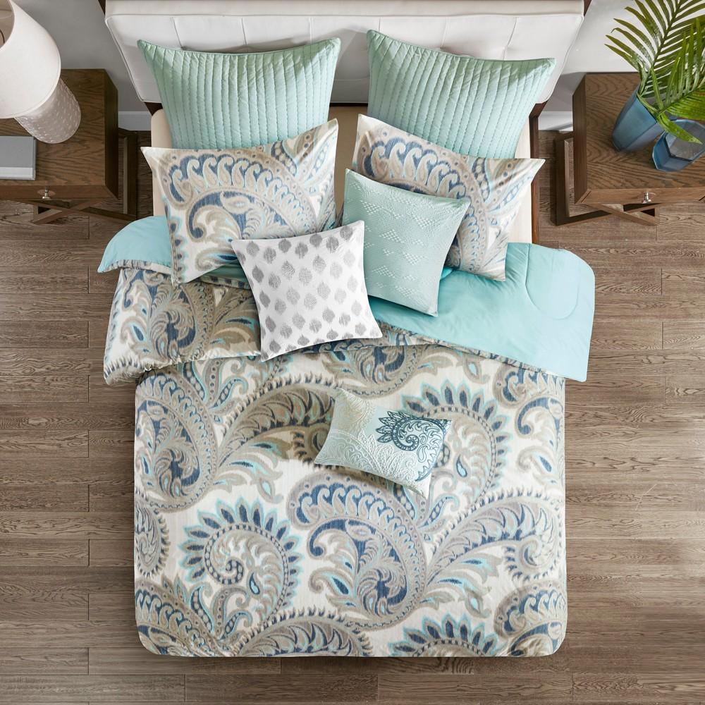 3pc Full Queen Mira Cotton Comforter Set Blue