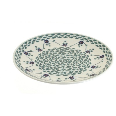 Blue Rose Polish Pottery Sage Floral Lunch Plate