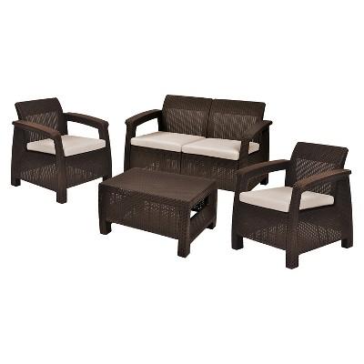 Corfu Patio Lounge Set With Cushions   Keter