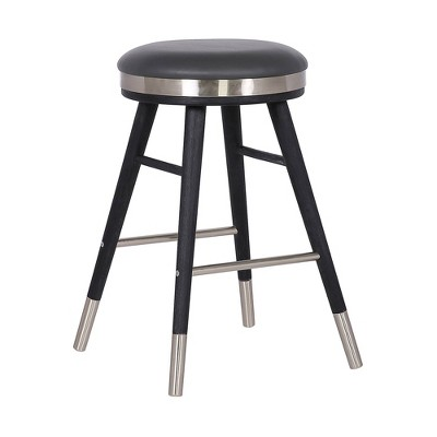 """26"""" Clara Backless Modern Faux Leather Bar Counter Height Barstool Gray - Armen Living"""