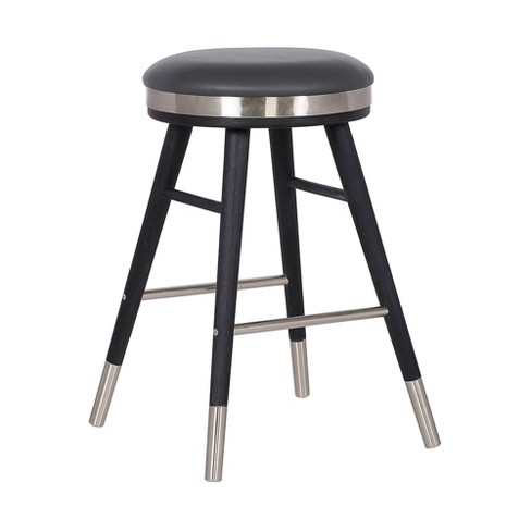 """26"""" Clara Backless Modern Faux Leather Bar Stool Gray - Armen Living - image 1 of 4"""