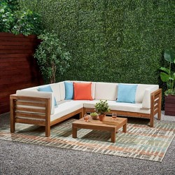 Oana 4pc Acacia Wood Patio Sectional Chat Set w/ Cushions - Christopher Knight Home