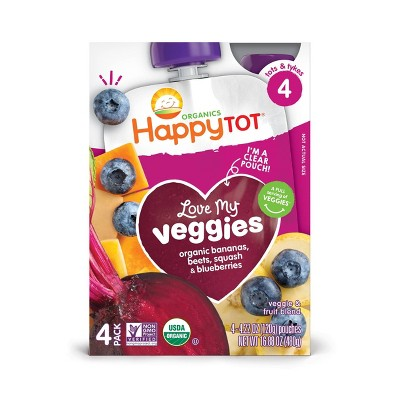 HappyTot Love My Veggies Organic Bananas Beets Squash & Blueberries Baby Food Pouch - (Select Count)