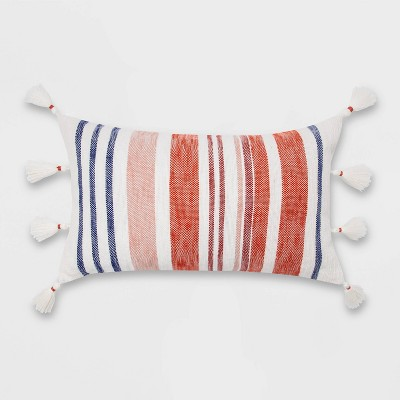 Oversized Woven Textured Striped Lumbar Throw Pillow with Corner Tassels - Opalhouse™