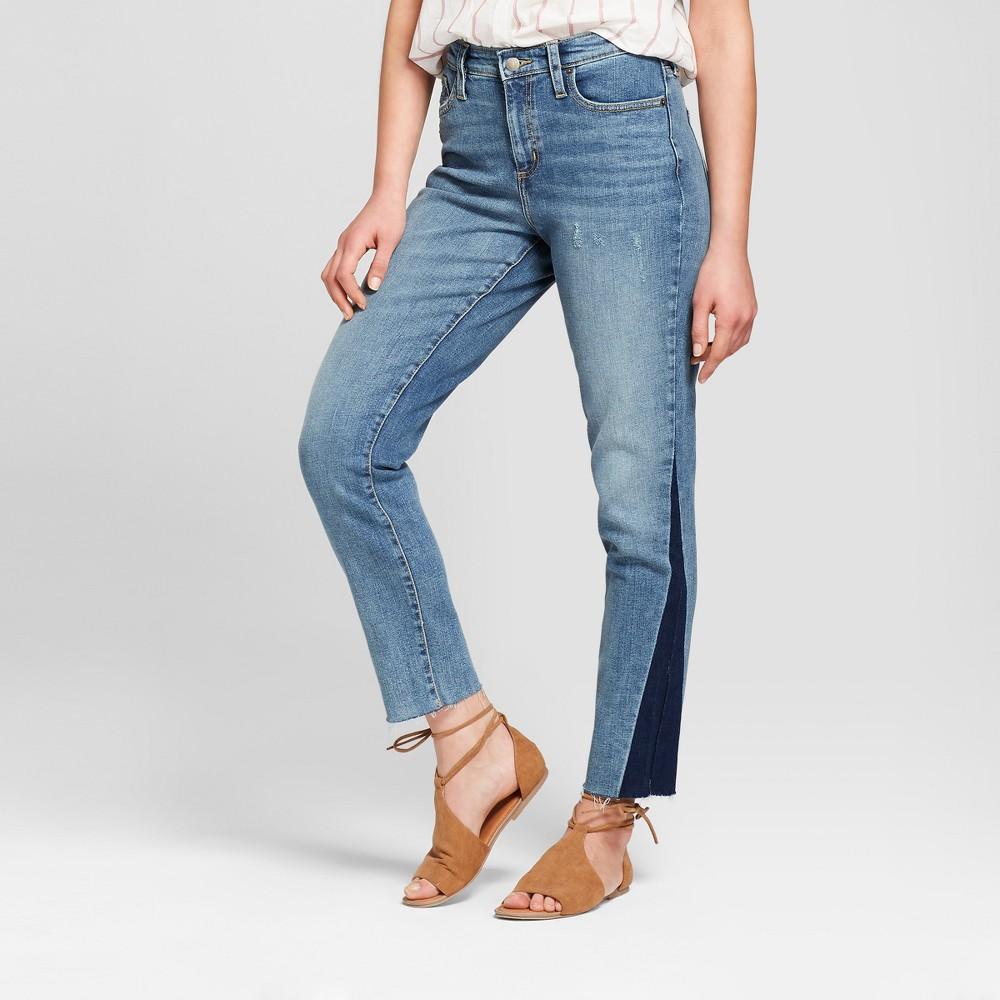 Women's High-Rise Raw Hem Straight Jeans - Universal Thread Light Wash 6, Blue