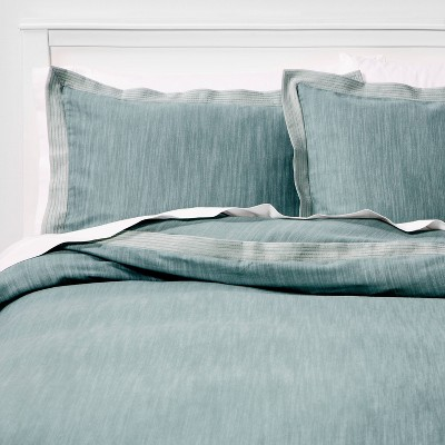 King Family Friendly Duvet Cover & Sham Set Mint Chambray - Threshold™