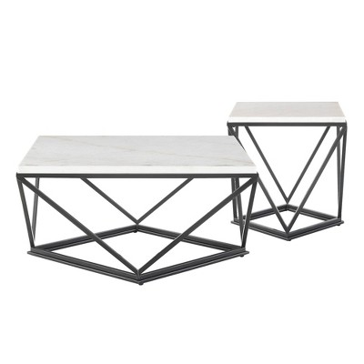 2pc Conner Occasional Coffee Table & End Table Set White - Picket House Furnishings