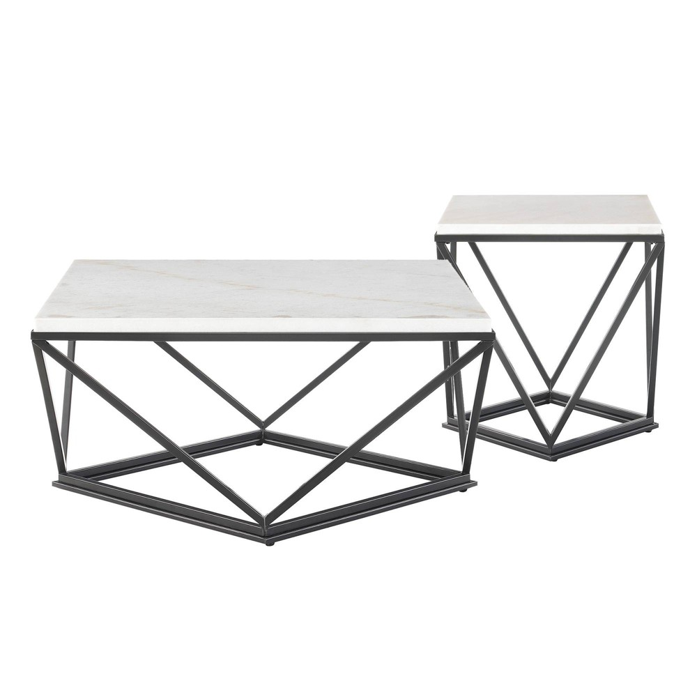 Image of 2pc Conner Occasional Coffee Table & End Table Set White - Picket House Furnishings