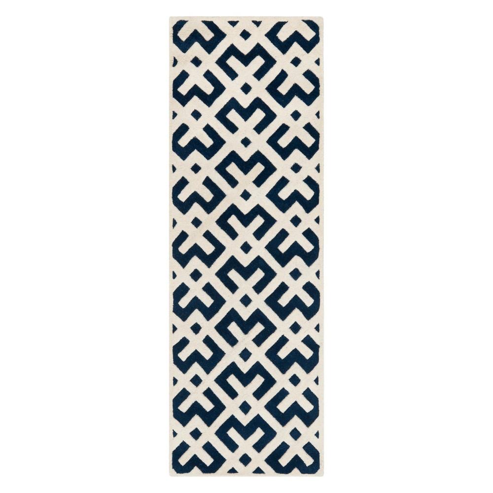Dark Blue/Ivory Geometric Tufted Runner 2'3X7' - Safavieh