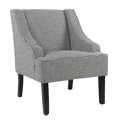 Fabric Upholste Wooden Accent Chair with Check Pattern Black/White - Benzara
