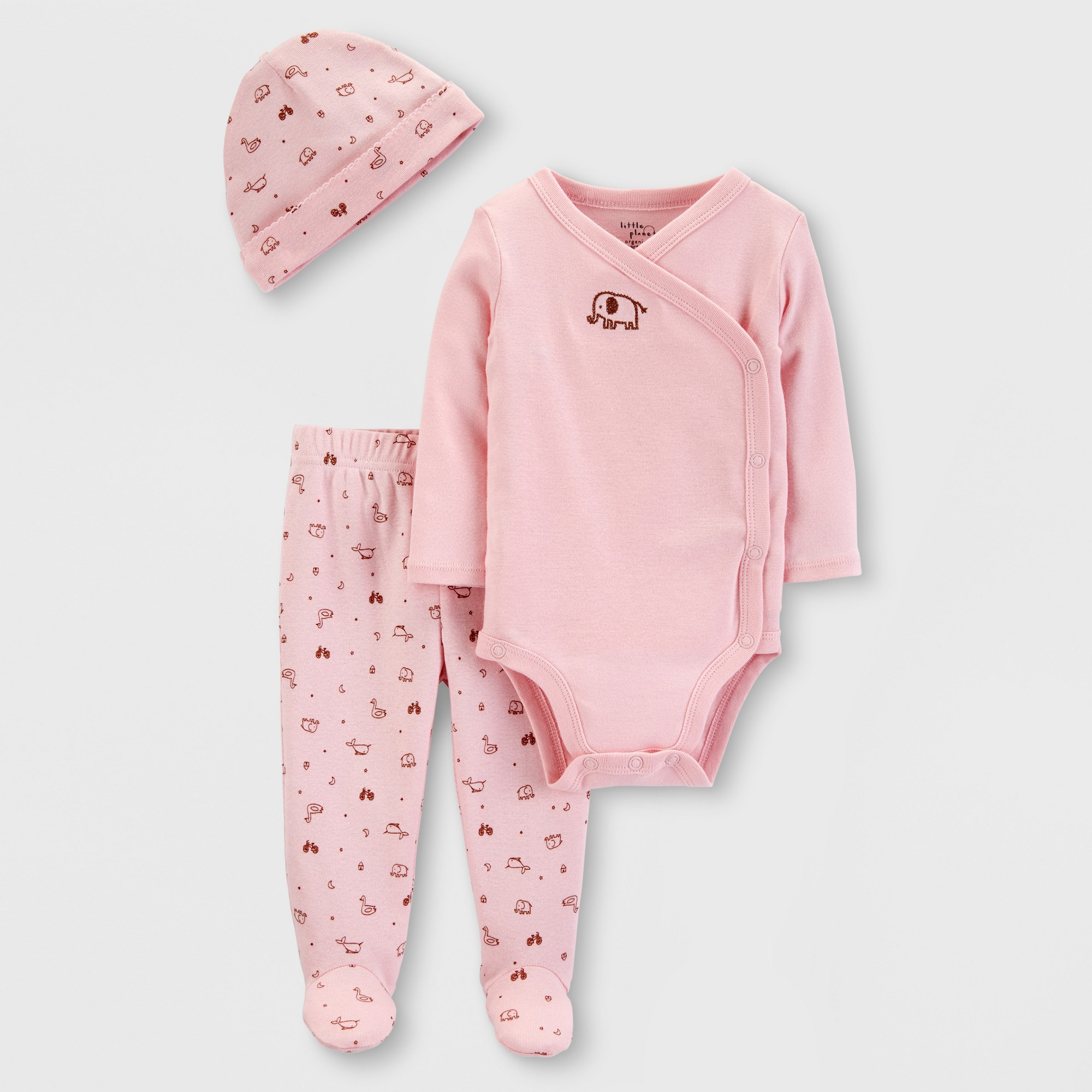 Little Planet Organic by carter's Baby Girls' Elephant Print Top and Bottom Set - Pink 9M