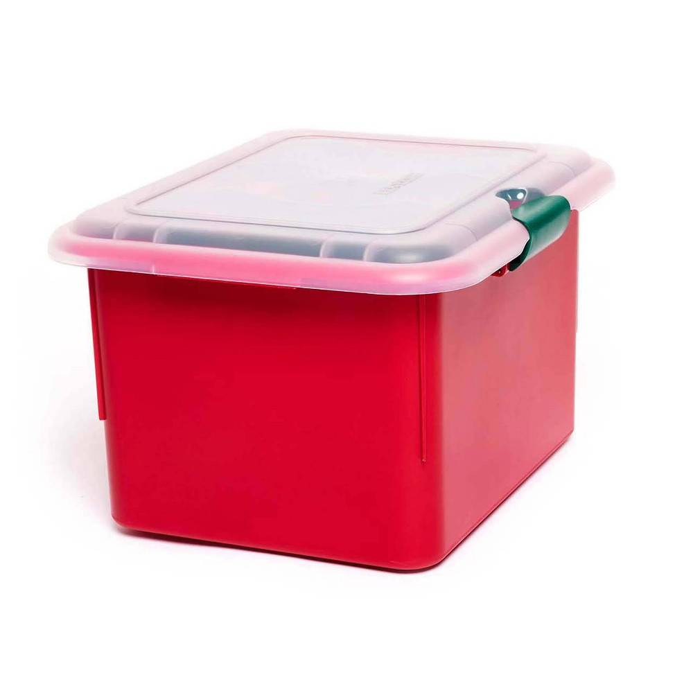 Image of 2pk Light Storage Box With Cord Wraps - Homz, Green Clear Red