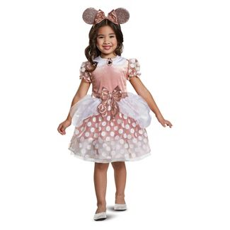 Toddler Girls' Mickey Mouse & Friends Minnie Mouse Classic Halloween Costume Rose Gold 2T