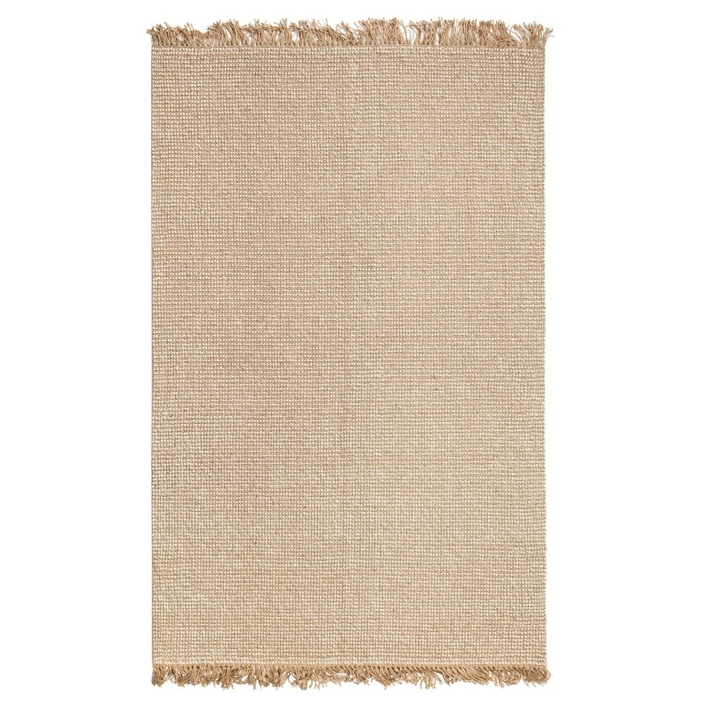 Beige Solid Woven Accent Rug 8'X10' - Anji Mountain