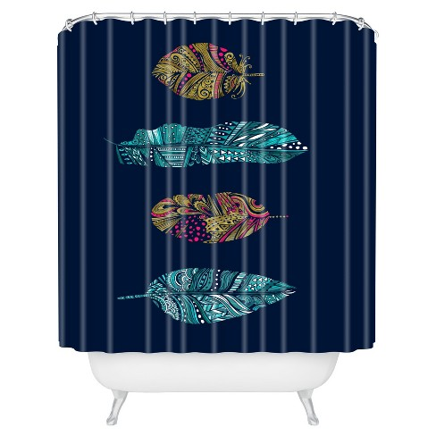 Stephanie Corfee Doodle Feather Shower Curtain Navy - Deny Designs - image 1 of 1