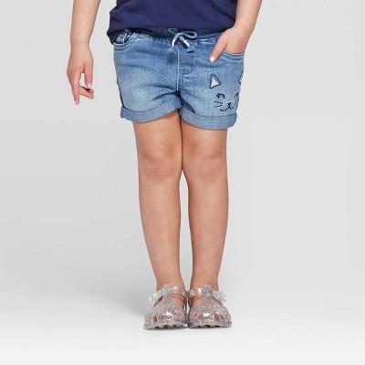 Toddler Girls' Kitten Embroidered Jean Shorts - Cat & Jack™ Blue 12M