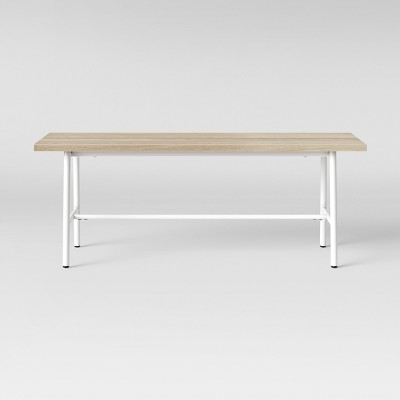 Merveilleux Candela Plank Metal U0026 Wood Dining Bench White   Project 62™
